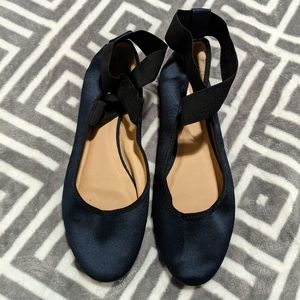 Mossimo Navy Blue Satin Ankle Strap Ballet Flat 10